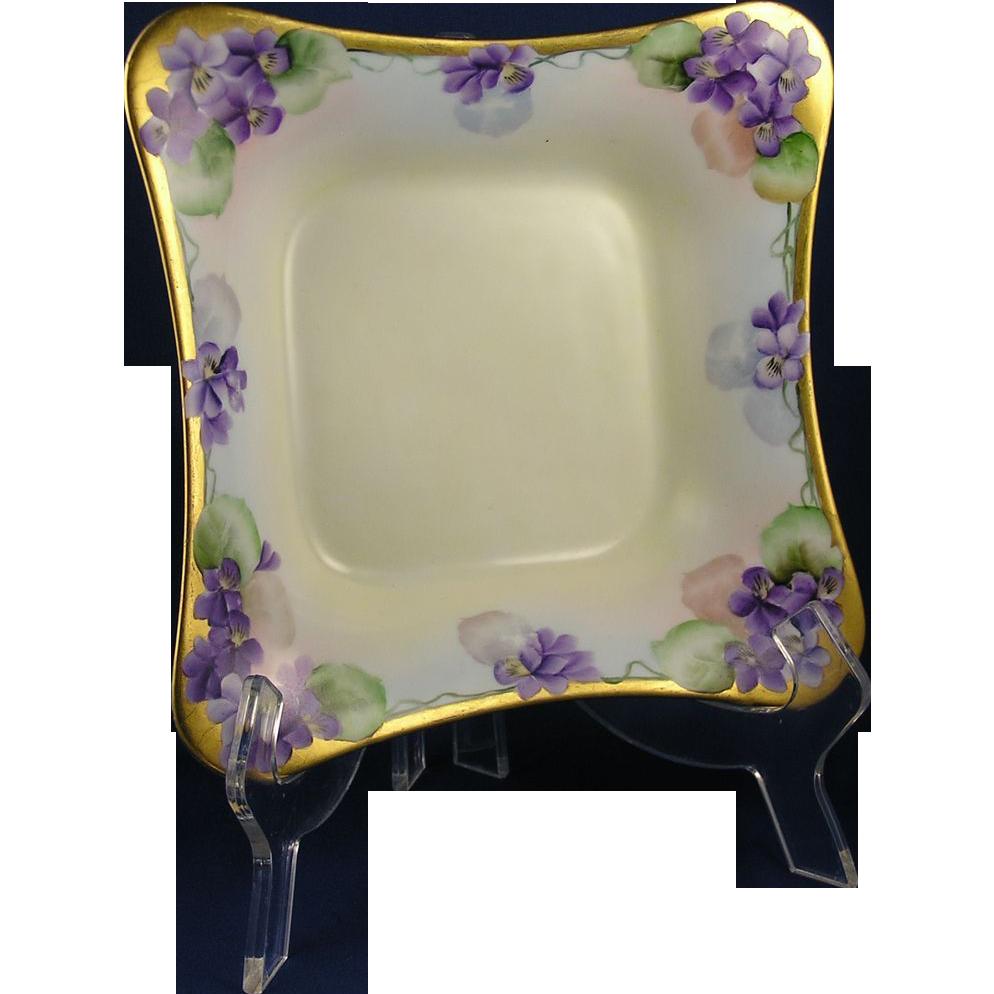 "Hutschenreuther Bavaria Violet Motif Bowl (Stamped ""Mrs. E.E. Thompson, Erie, Pa""/c.1887-1910)"