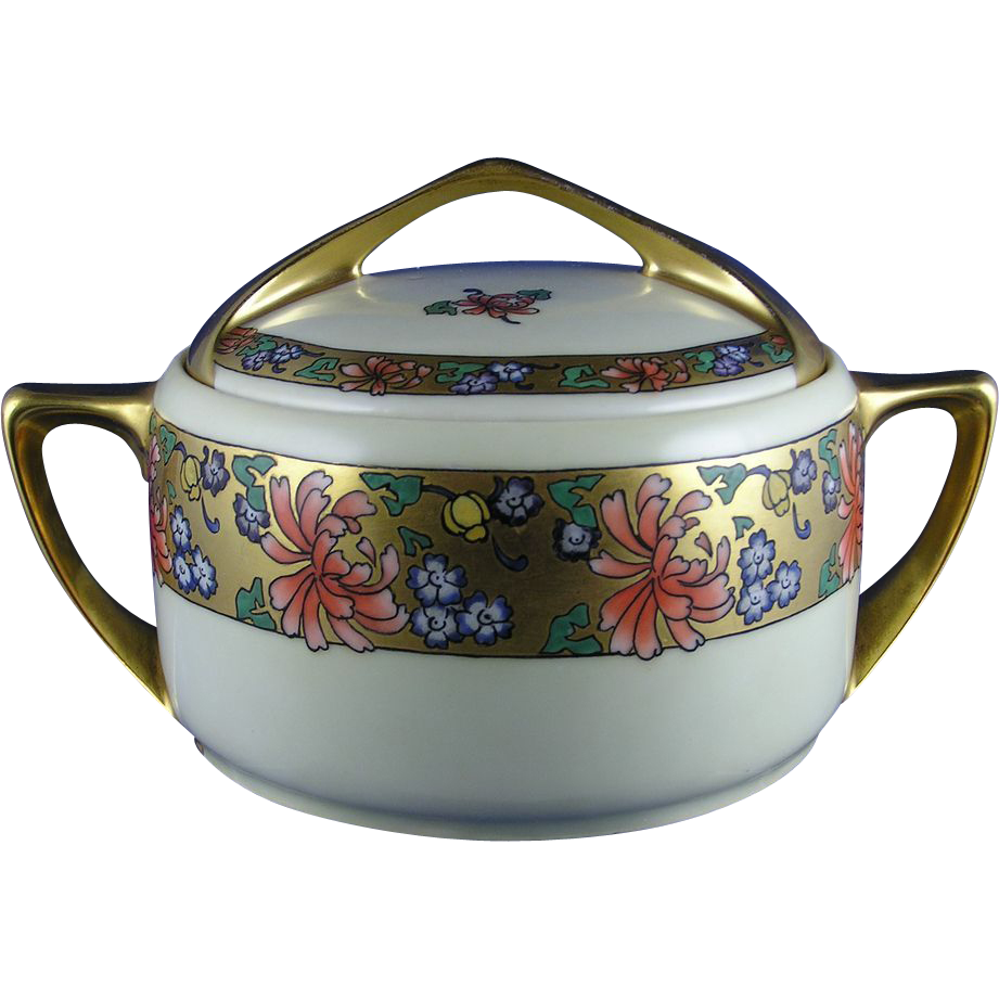 "Rosenthal Donatello Bavaria Arts & Crafts Floral Motif Biscuit Jar (Signed ""C. Smith""/c.1907-1930)"