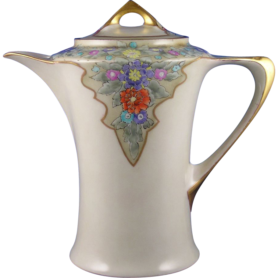 "Hutschenreuther Cacilie Selb Bavaria Arts & Crafts Enameled Floral Motif Coffee Pot (Signed ""E. Bertson""/c.1910-1920)"