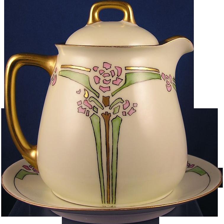 """Jaeger & Co. (JC) Bavaria Peerless Arts & Crafts Floral Design Covered Pitcher & Plate Set (Signed """"Elsie B.""""/Dated 1913)"""