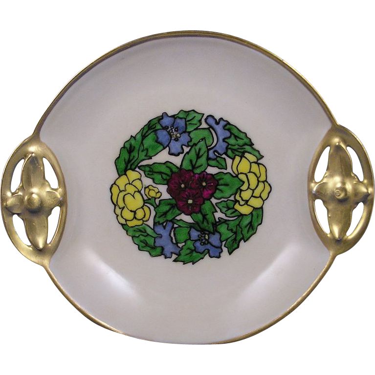 RS Tillowitz Silesia Arts & Crafts Floral Motif Handled Plate (c.1904-1938)