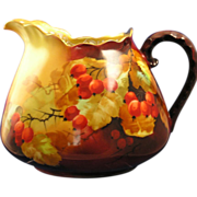 """Jaeger, Thomas & Co. (JT & Co.) Bavaria Currant Motif Pitcher (Signed by Pickard Artist """"E. Challinor""""/c.1898-1903)"""