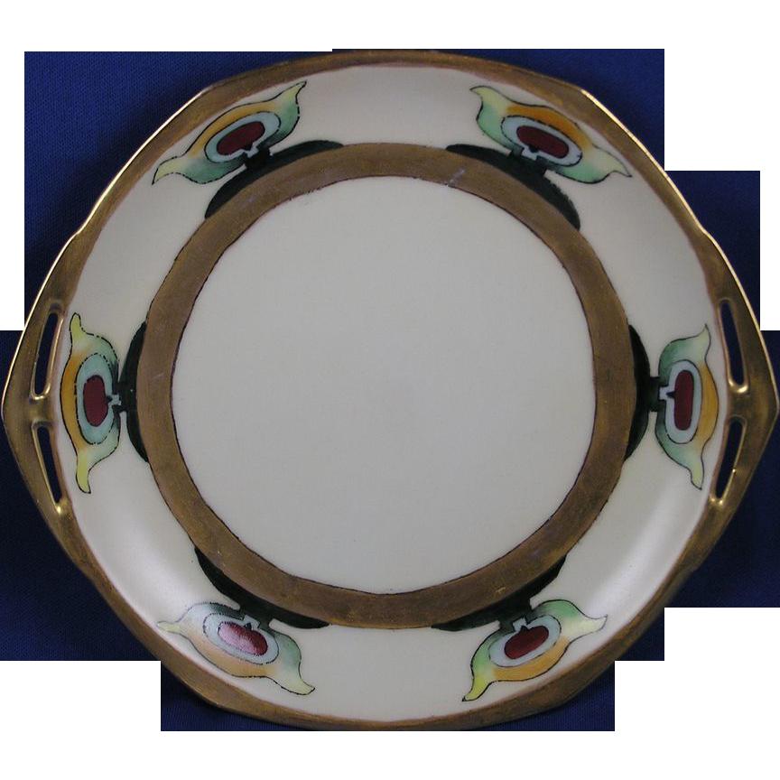 Moritz Zdekauer (MZ) Austria Arts & Crafts Handled Plate (c.1884-1909)