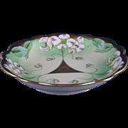 "Limoges Mark 6 Pickard Studios White Dogwood Blossom Design Bowl (Signed ""Marker""/c.1905-1910)"