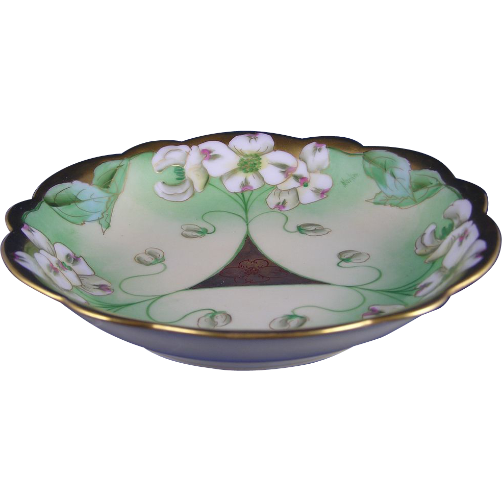 "Limoges Mark 6 Pickard Studios White Dogwood Blossom Design Bowl (Signed ""Marker""/c.1905-1910)"