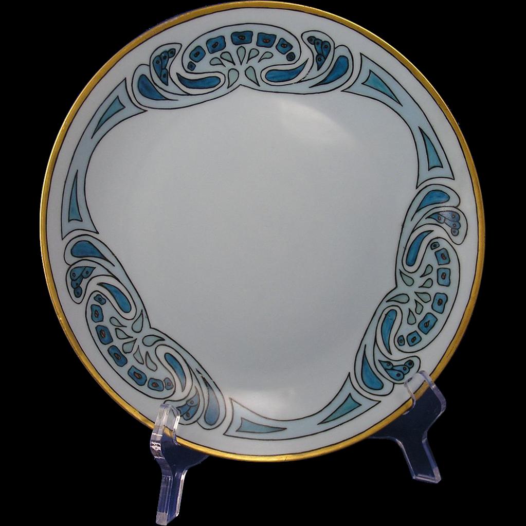 """Uno Favorite Bavaria Blue Arts & Crafts Plate (Signed """"Iva Potts""""/c.1910-1930)"""