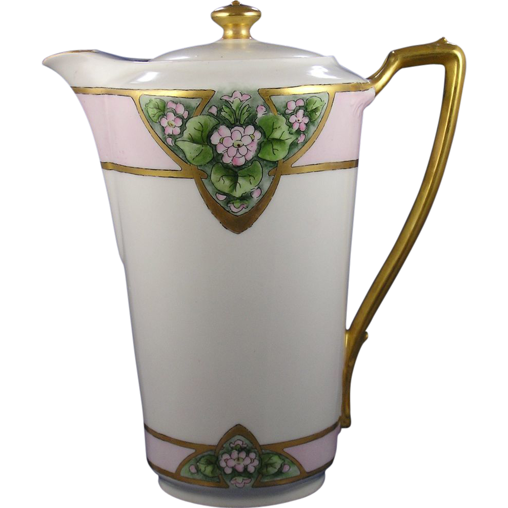 Krister Porcelain Manufactory (KPM) Germany Arts & Crafts Floral Motif Coffee/Chocolate Pot (c.1904-1927)