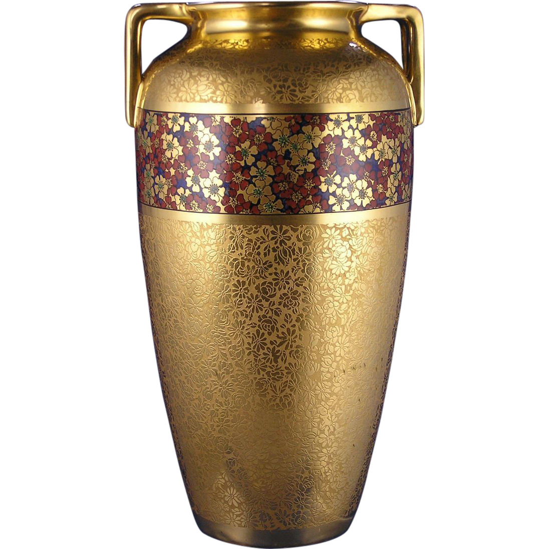"Pickard Studios ""Gold Tracery AOG"" Red & Gold Floral Design Vase (c.1919-1922)"
