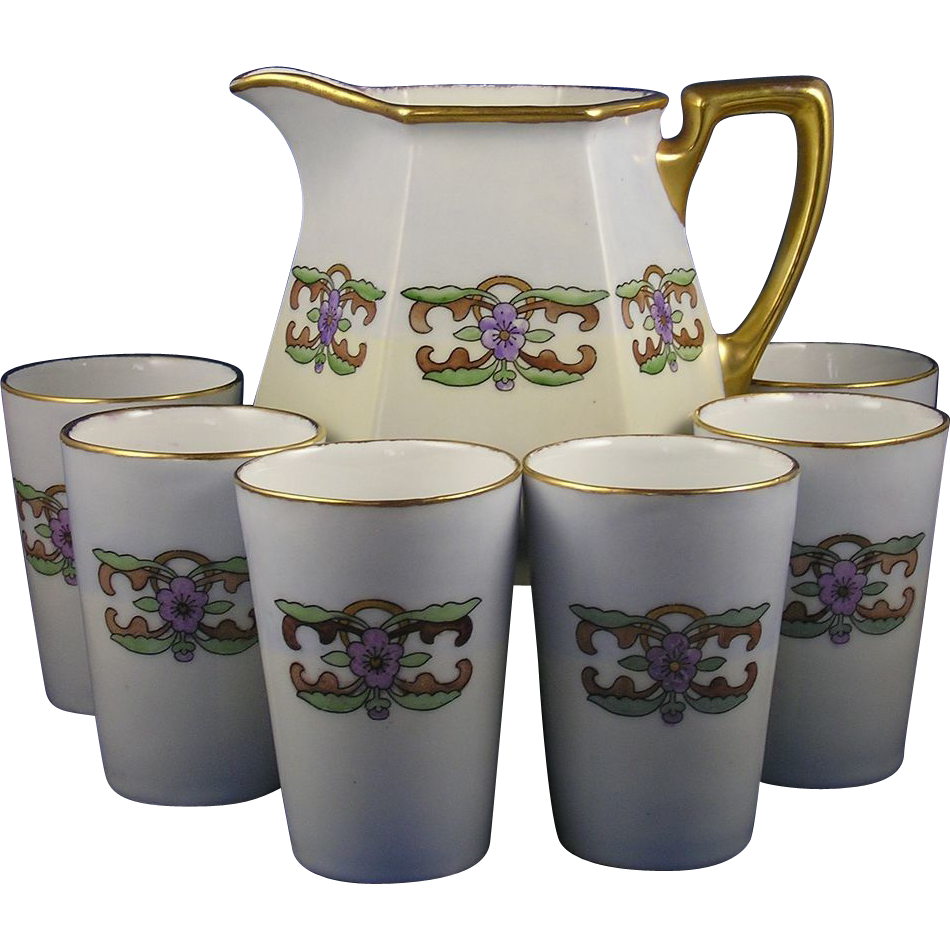 "Haas & Czjzek (H&C) Schlaggenwald Czechoslovakia Arts & Crafts Floral Design Pitcher & Cup Set (Signed ""R. Dillon""/Dated 1923)"