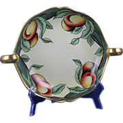 """Delinieres & Co. (D&Co.) Limoges Arts & Crafts Peaches Motif Handled Serving Bowl/Dish (Signed """"A.O. Balthazar""""/c.1894-1900)"""