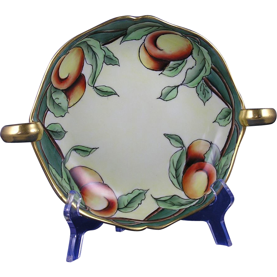 "Delinieres & Co. (D&Co.) Limoges Arts & Crafts Peaches Motif Handled Bowl (Signed ""A.O. Balthazar""/c.1894-1900)"