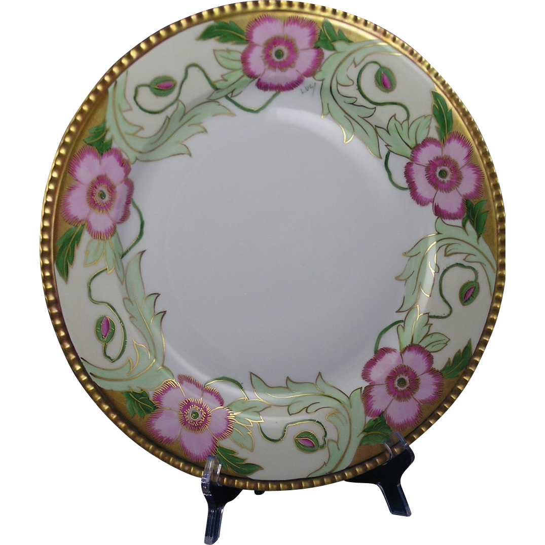 coiffe limoges art nouveau floral motif plate charger. Black Bedroom Furniture Sets. Home Design Ideas