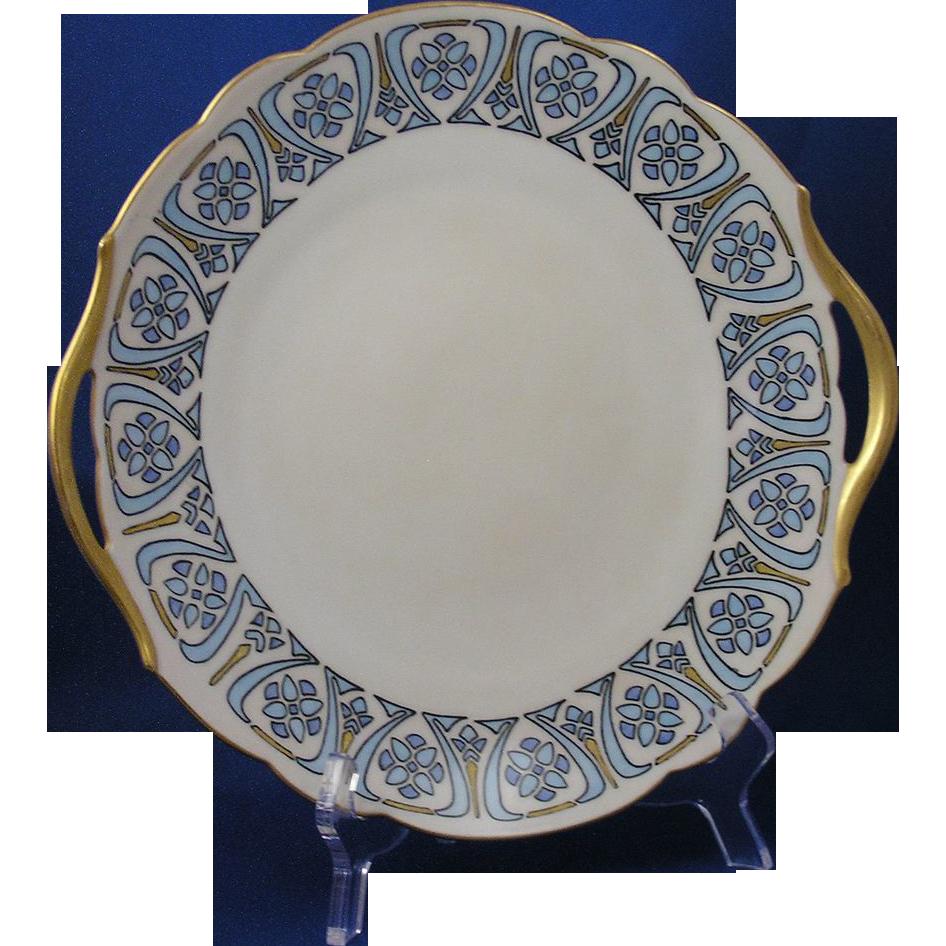 """Tressemann & Vogt (T&V) Limoges Arts & Crafts Handled Plate (Signed """"R.H.K.""""/Dated 1911)"""