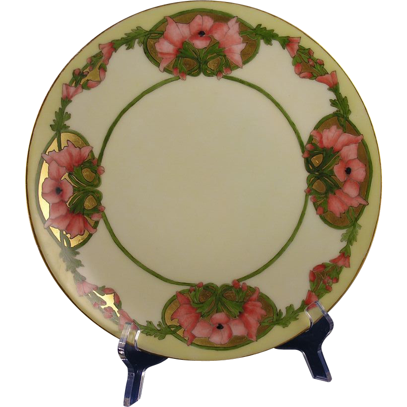 "Thomas Bavaria Arts & Crafts Floral ""Wild Hollyhock"" Design Plate (c.1908-1925)"