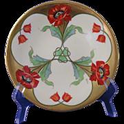 "Stouffer Studios Porcelain Limousine (PL) Limoges Poppy Motif Plate (Signed ""Bullin""/c.1906-1914)"