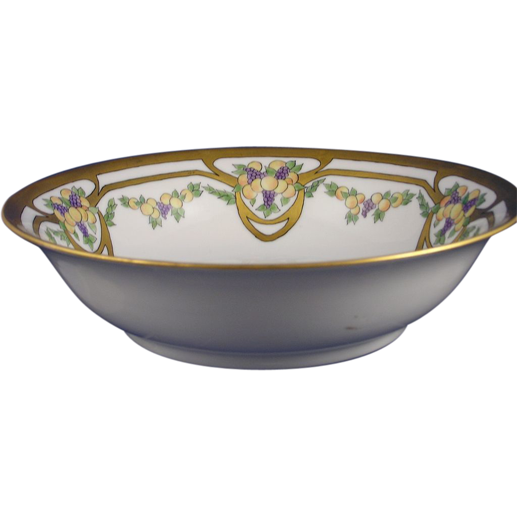 "Moschendorf Porcelain Factory Bavaria Arts & Crafts Fruit Motif Bowl (Signed ""E.M.C.""/Dated 1930) - Keramic Studio Design"