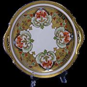 "Pickard Studios ""Dahlia & Raised Gold Lustre"" Design Handled Plate/Charger (Signed ""Passoni"" for Arthur Passony/c.1912-1918)"