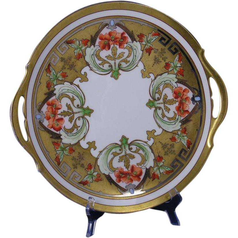 "Pickard Studios ""Dahlia & Raised Gold Lustre"" Design Handled Plate/Charger (Signed ""Passoni"" for Arthur Passony/c.1912-1918)"