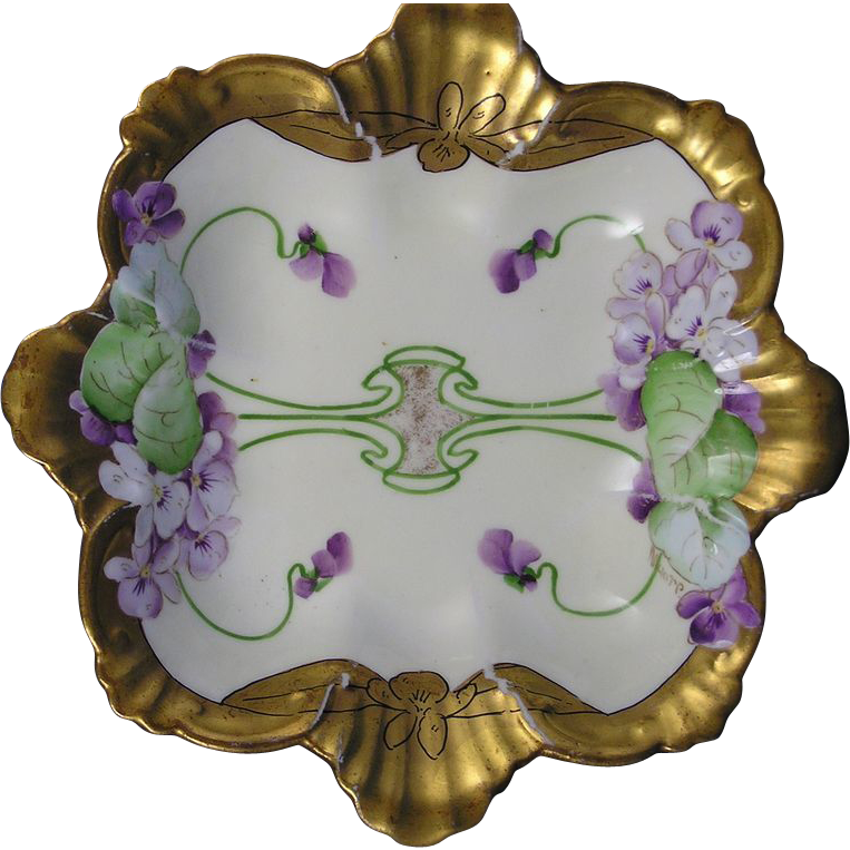 "Pickard Studios Royal Colston England Violet Cluster Design Dish (Signed ""Moore"" for Bertha Moore/c.1905-1910)"