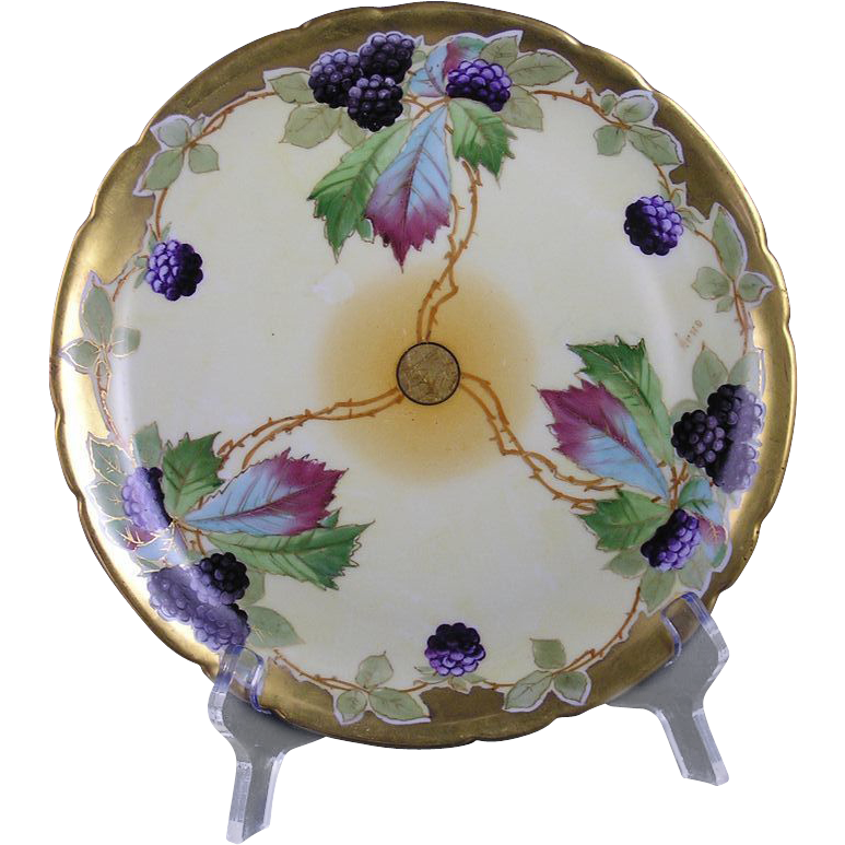 "Jean Pouyat (JP) Limoges Stouffer Studios Black Raspberry Plate (Signed ""Arno"" for Edith Arno/c.1906-1914)"