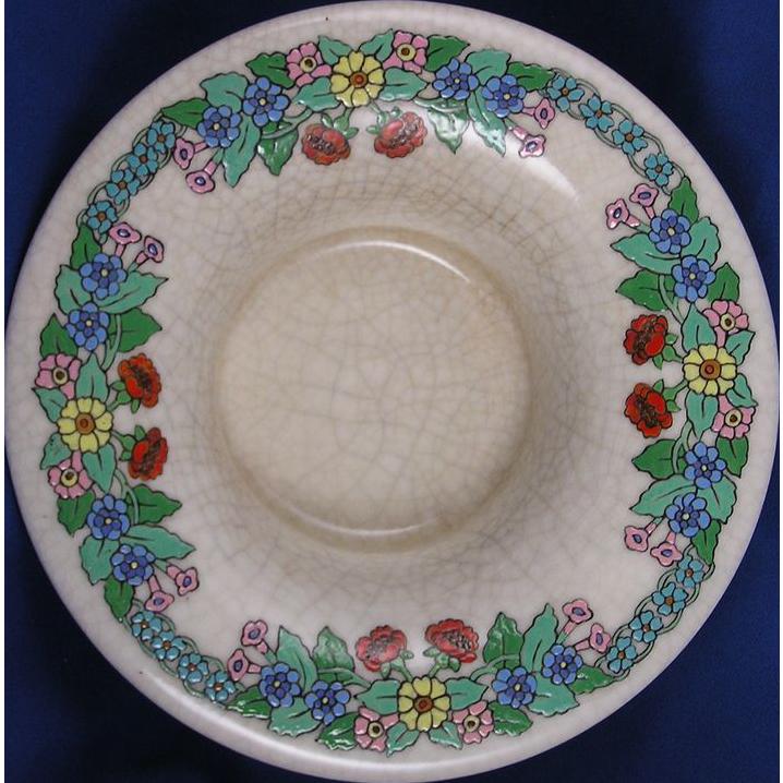 "American Satsuma Floral Design Centerpiece Bowl (Signed ""E.D. Pindar""/c.1901-1928)"