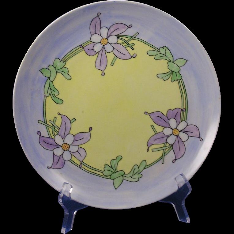 """Laviolette Limoges Arts & Crafts Floral Motif Plate (Signed """"J. O'B.""""/c.1896-1905)"""