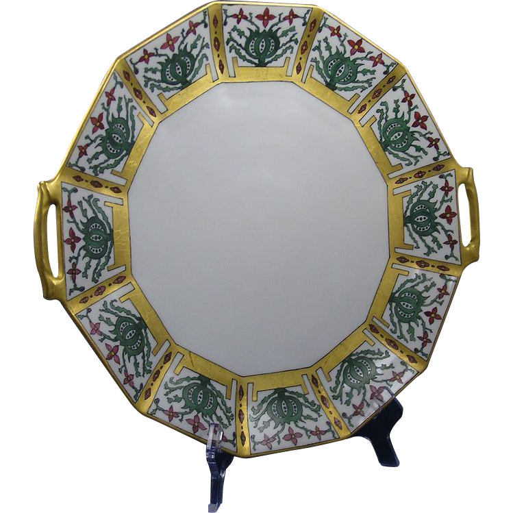 "Coiffe Limoges Arts & Crafts Floral Handled Plate/Charger (Signed ""M.R.K.""/c.1891-1914)"
