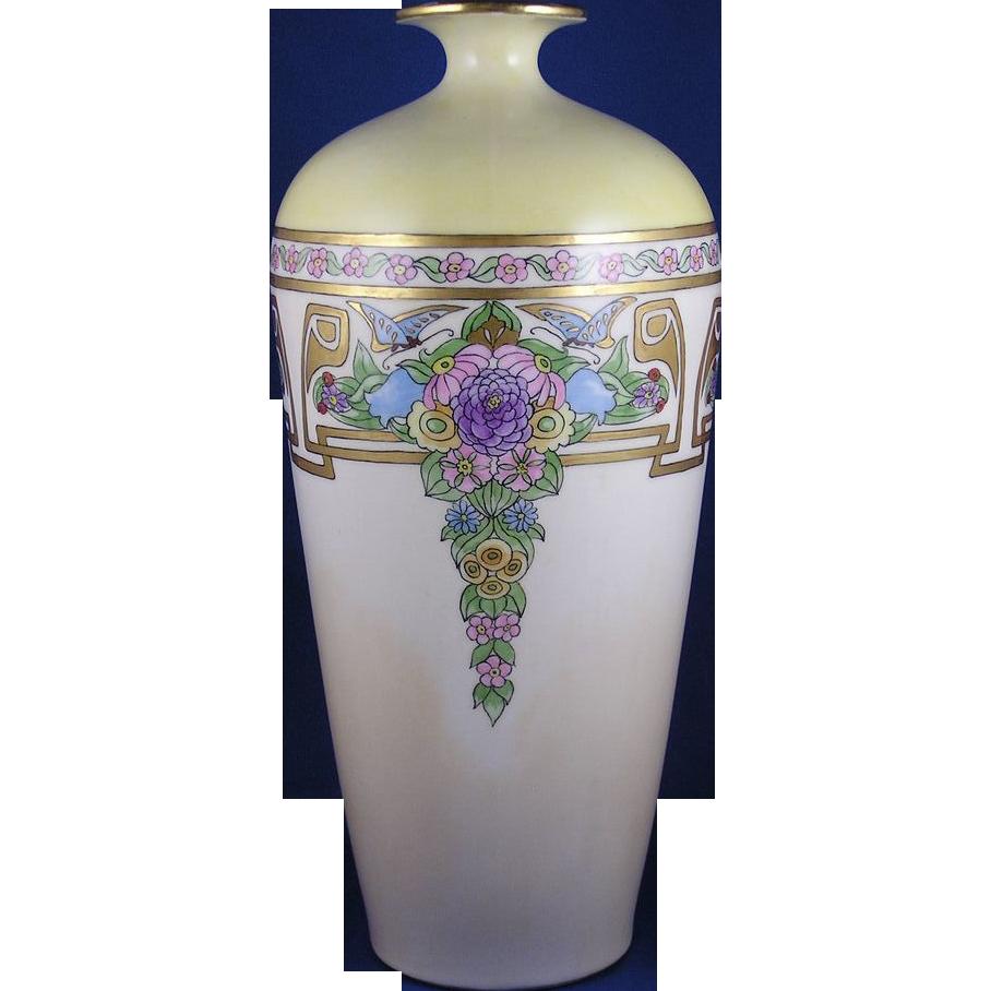 "Jean Pouyat (JP) Limoges Arts & Crafts Floral & Butterfly Motif Vase (Signed ""Bertha Schwoob""/c.1890-1932)"