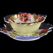 "Haviland Limoges Pickard Studios Poppy Motif Sauce Dish & Plate (Signed ""Wagner"" for Albert H. Wagner/c.1905-1910)"