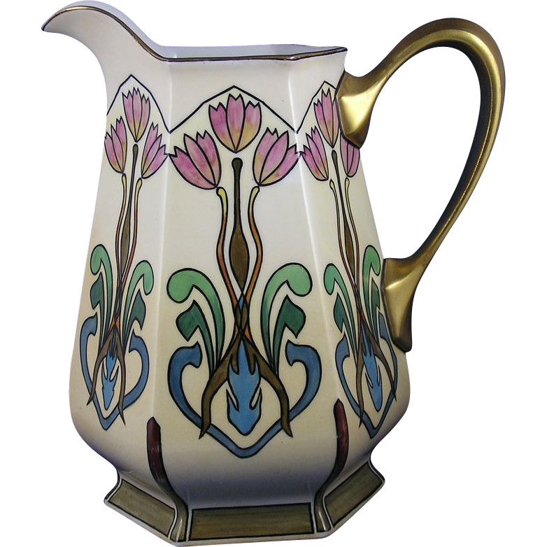 "Delinieres & Co. (D&Co.) Limoges Arts & Crafts Tulip Design Pitcher (Signed ""Edna Wilson""/Dated 1910)"