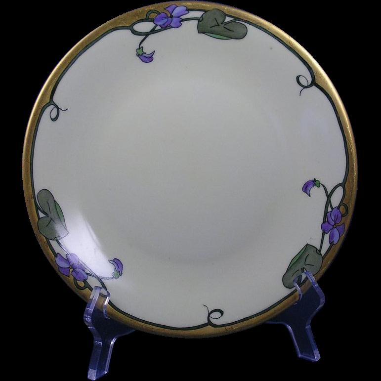 """Delinieres & Co. (D&Co.) Limoges Arts & Crafts Violet Motif Plate (Signed """"E.P.B.""""/c.1894-1900)"""