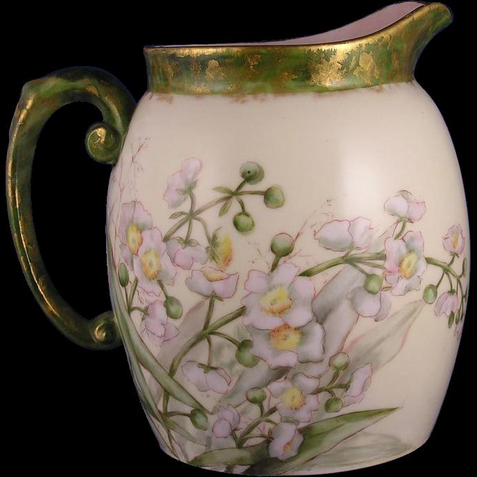 """Tressemann & Vogt (T&V) Limoges Dorique Floral Design Pitcher (Signed """"J.M.P.""""/c.1892-1907)"""
