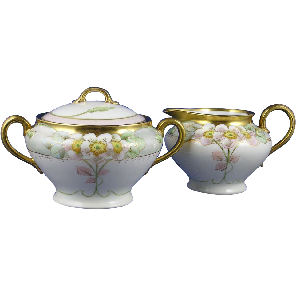 "Gerard, Duffraisseix & Abbott (GDA) Limoges International Art Studios Chicago Apple Blossom Design Creamer & Sugar Set (Signed ""Marker"" for Curtis H. Marker/c.1910-1911)"