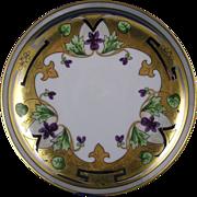 """Haviland Limoges Stouffer Studios Violet & Platinum Border Design Plate (Signed """"N.H.""""/c.1906-1914)"""