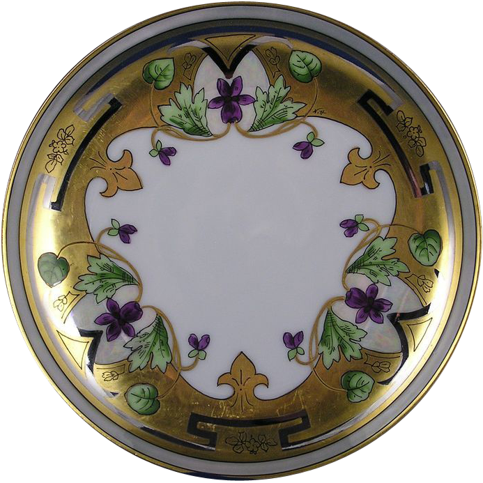 "Haviland Limoges Stouffer Studios Violet & Platinum Border Design Plate (Signed ""N.H.""/c.1906-1914)"