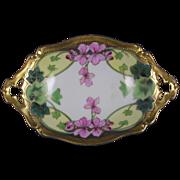 """Tressemann & Vogt (T&V) Limoges Stouffer Studios Vining Geraniums Design Dish (Signed """"Michel""""/c.1906-1914)"""