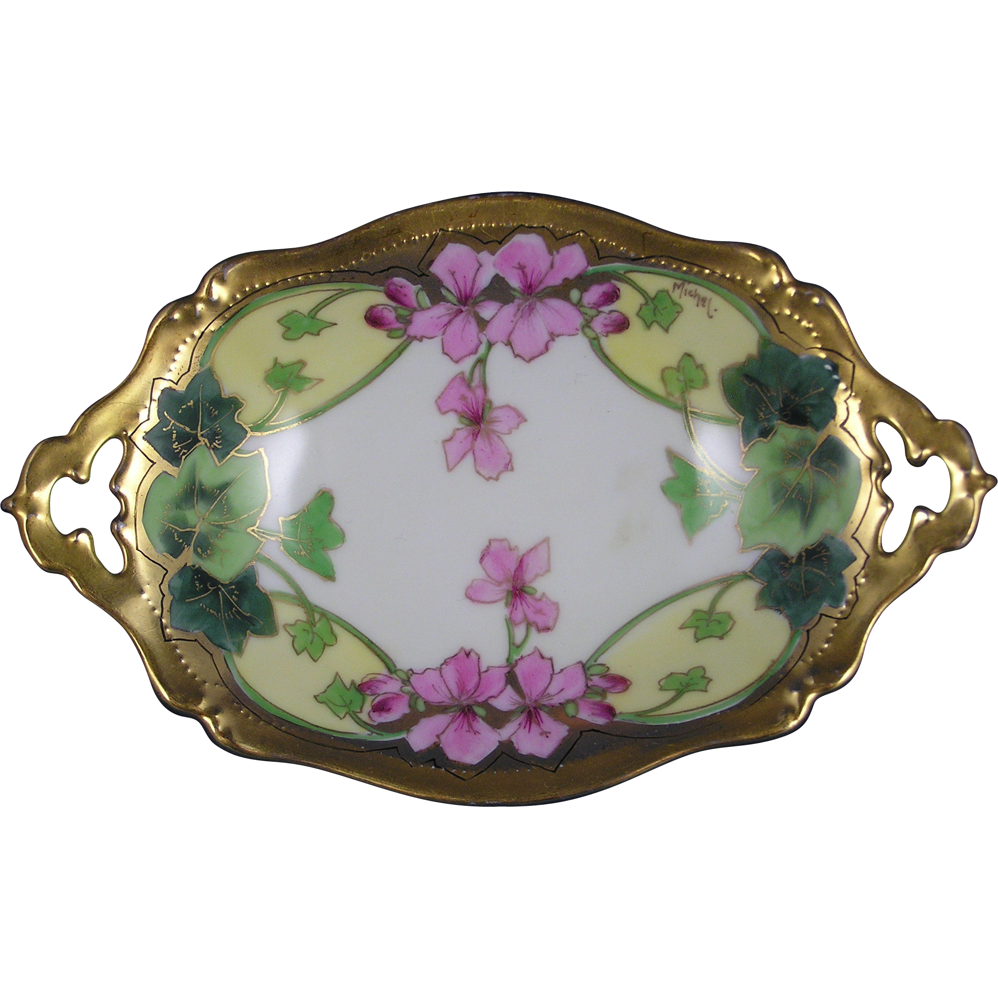 "Tressemann & Vogt (T&V) Limoges Stouffer Studios Vining Geraniums Design Dish (Signed ""Michel""/c.1906-1914)"