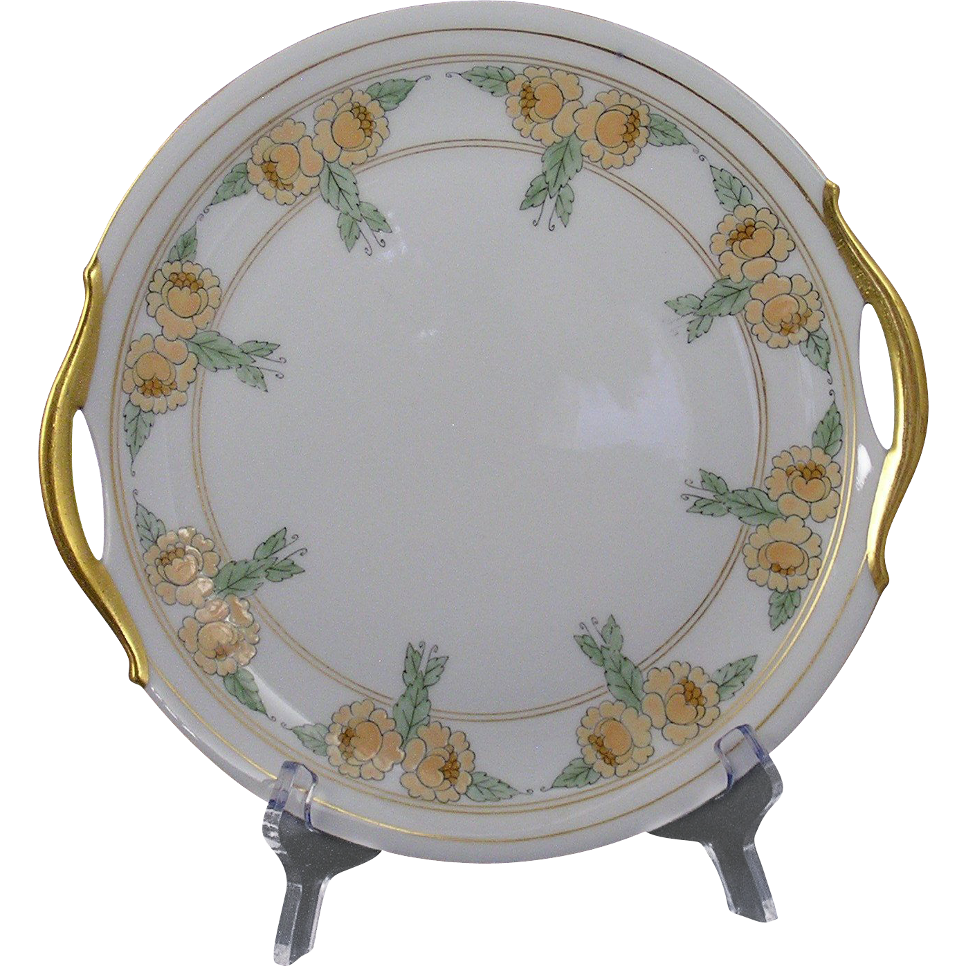 "Bavaria Arts & Crafts Enameled Yellow Floral Motif Handled Plate (Signed ""A.E. Graftstrom""/c.1910-1940)"