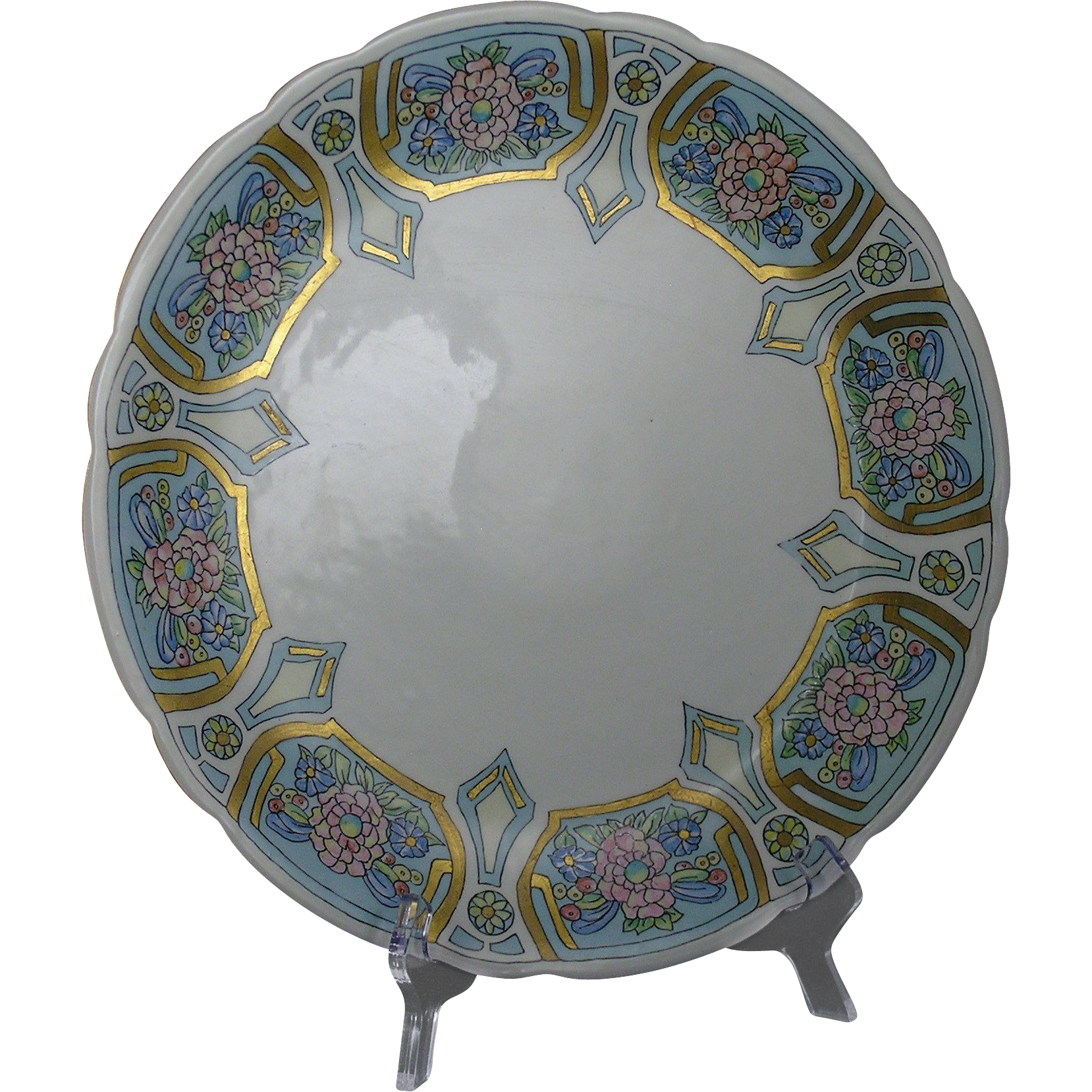 "Jean Pouyat (JP) Limoges Arts & Crafts Floral Motif Charger/Plate (Signed ""Louise Bird""/c.1890-1932)"