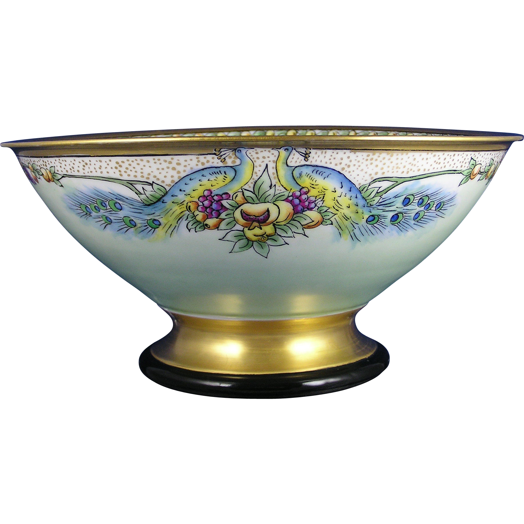 "Czechoslovakia Arts & Crafts Peacock Motif Centerpiece Bowl (Signed ""C.W. Critchlow""/c.1918-1936) - Keramic Studio Design"