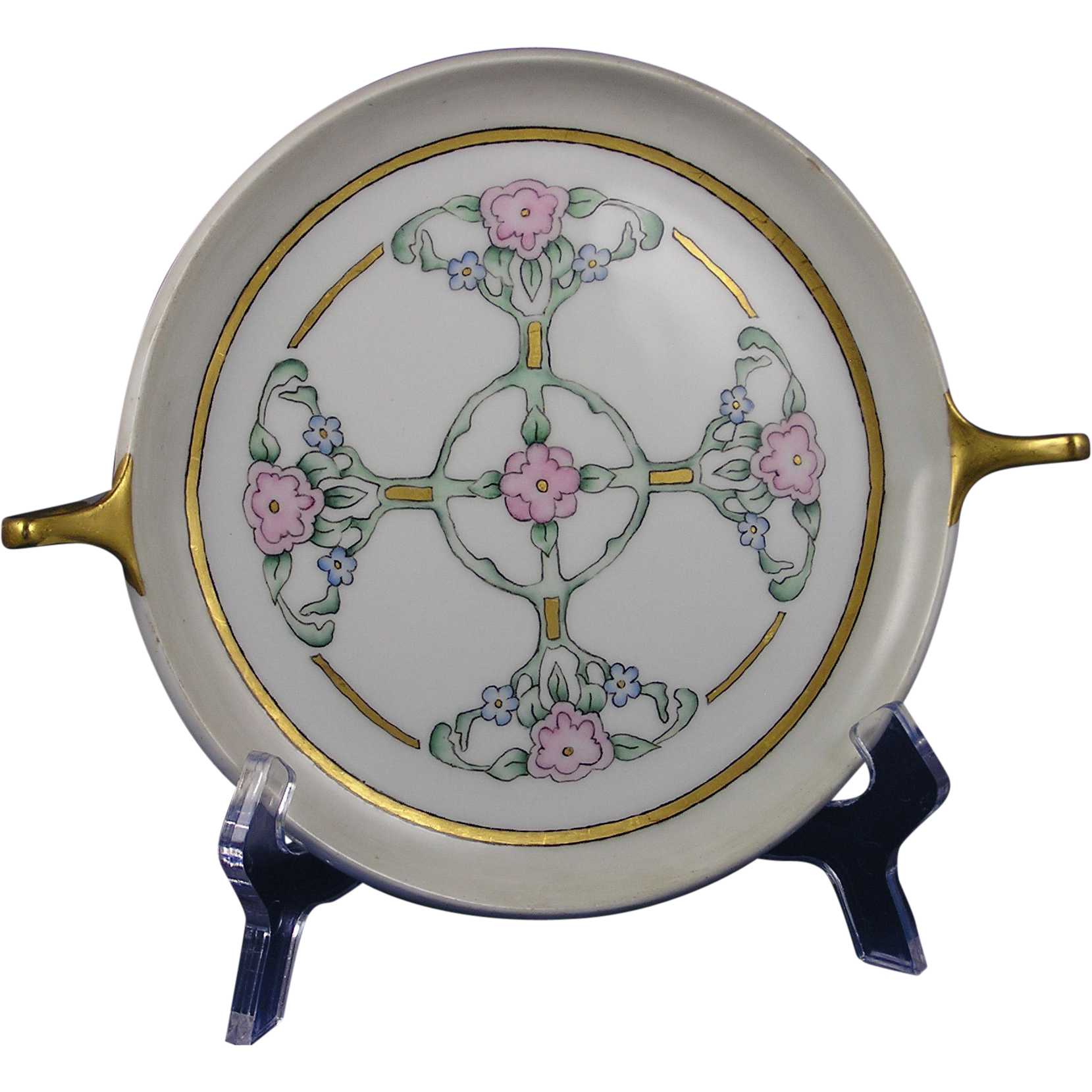 "Czechoslovakia Arts & Crafts Floral Design Handled Plate (Signed ""M.E.B.""/Dated 1935)"