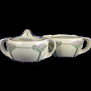 """RS Germany Arts & Crafts Floral Design Creamer & Sugar Set (Signed """"L.N.C.""""/c.1904-1938)"""