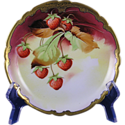 "Jean Pouyat (JP) Limoges Stouffer Studios Strawberry Design Plate (Signed ""ALF""/c.1906-1914)"