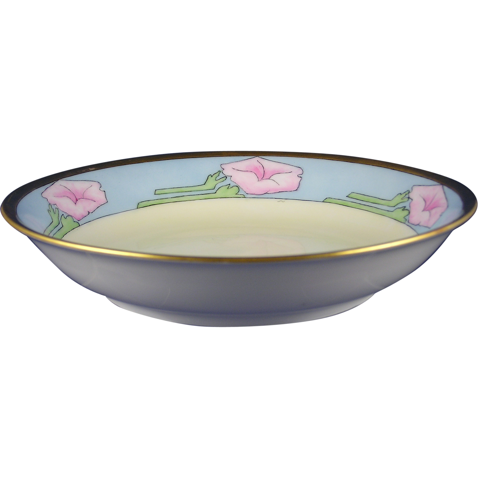 "Thomas Bavaria Arts & Crafts Floral Motif Bowl (Signed ""M. Harrison""/c.1908-1930)"
