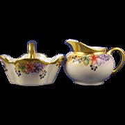 "Hutschenreuther Selb Bavaria Blueberry Motif Creamer & Sugar Set (Signed ""M. Paddock""/c.1920-1938)"