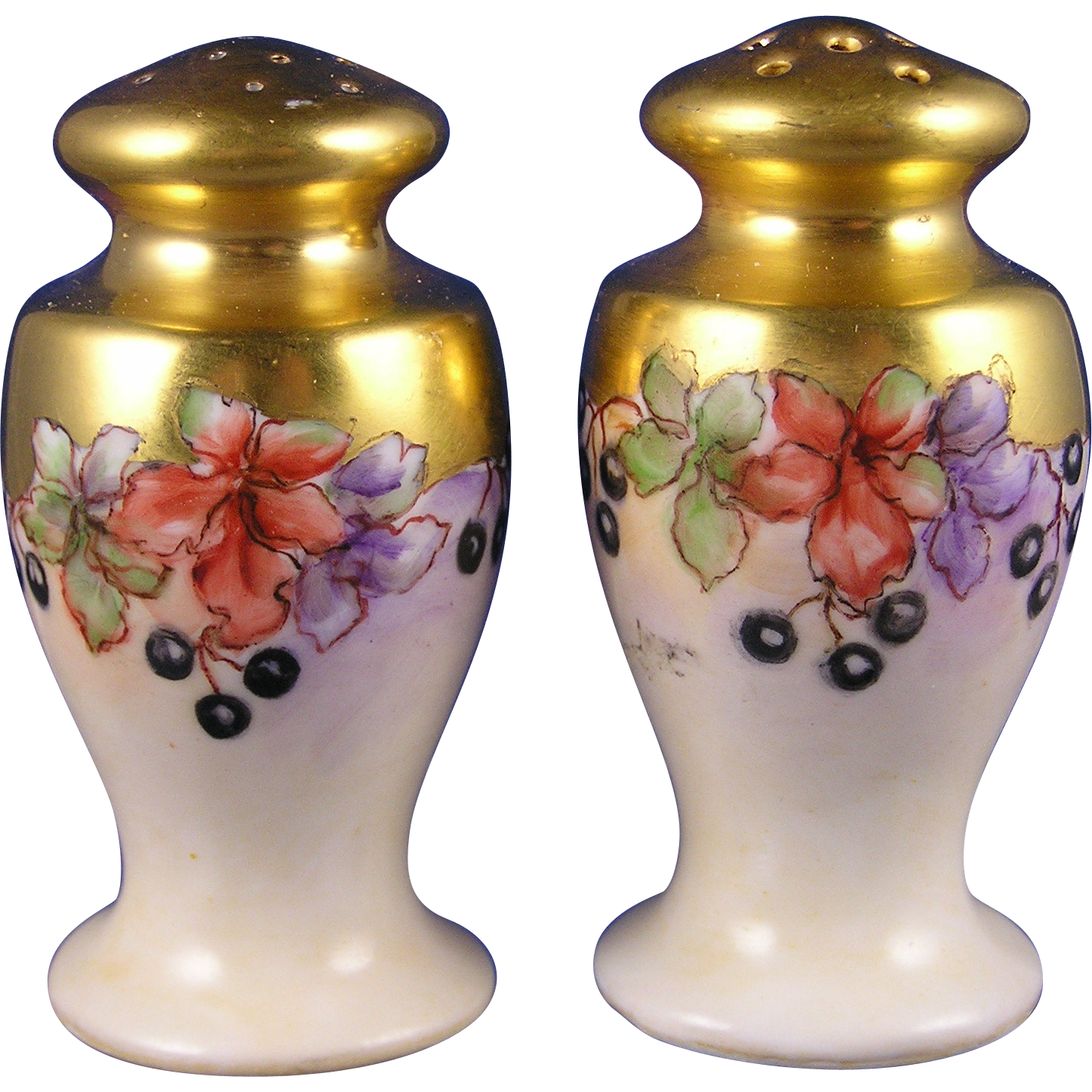 "Limoges Blueberry Motif Salt & Pepper Set (Signed ""M. Paddock""/c.1918-1939)"