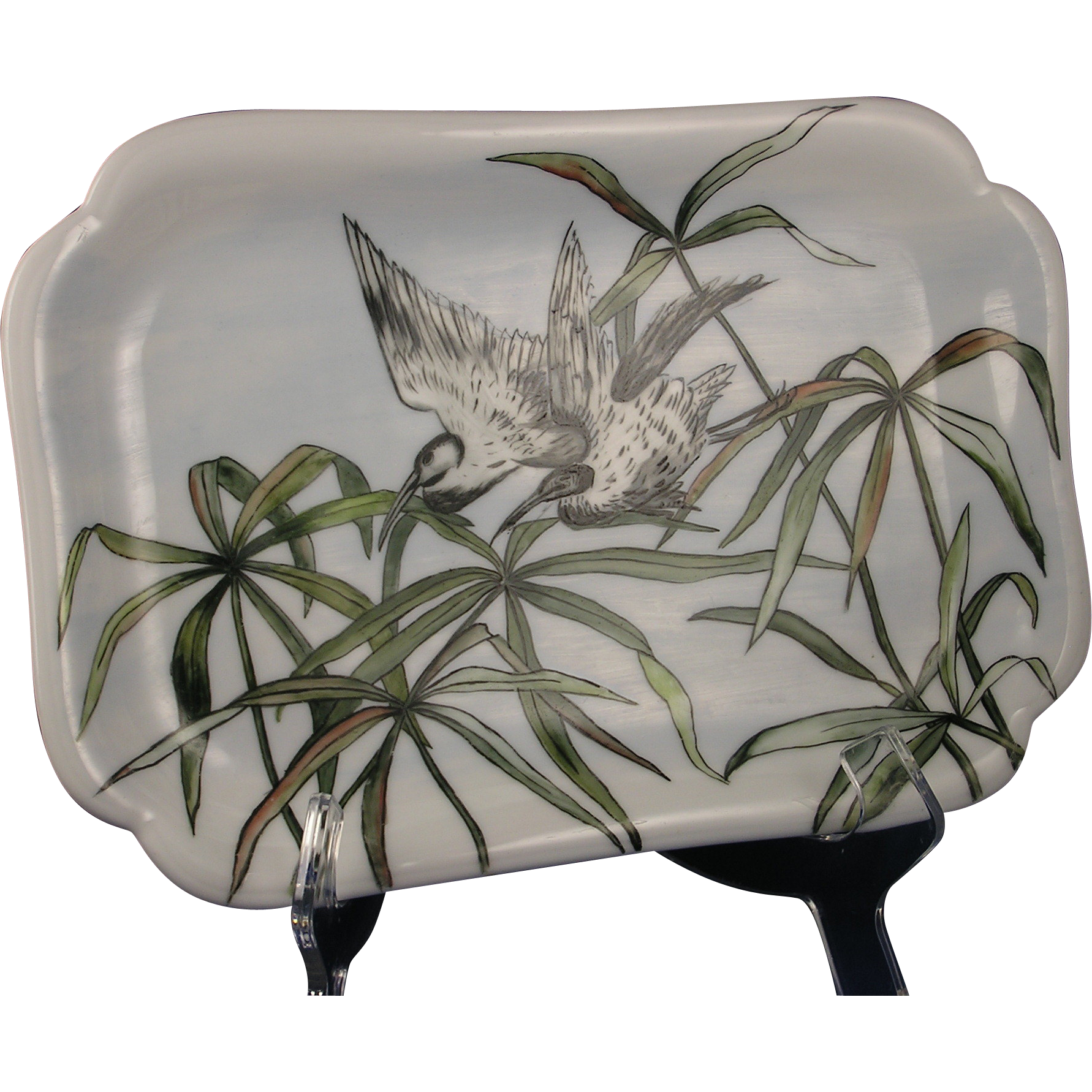 "Haviland Limoges Arts & Crafts Bird Motif Tray (Signed ""Xmas 1887"")"