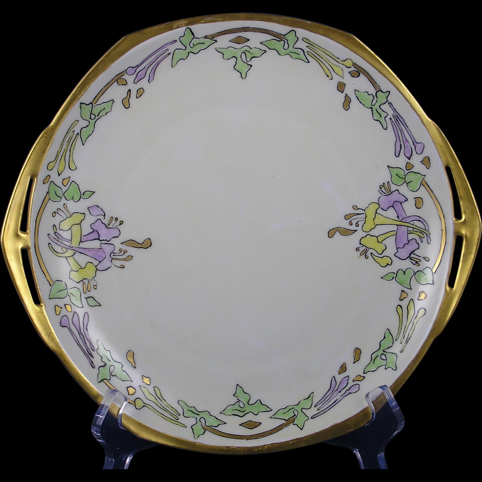 "Moritz Zdekauer (MZ) Altrohlau Czechoslovakia Arts & Crafts Floral Motif Handled Plate (Signed ""EHR""/c.1918-1939)"
