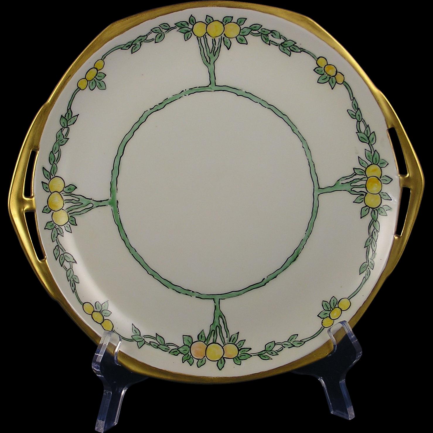 "Moritz Zdekauer (MZ) Altrohlau Czechoslovakia Arts & Crafts Citrus Tree Motif Handled Plate (Signed ""EHR""/c.1918-1939)"