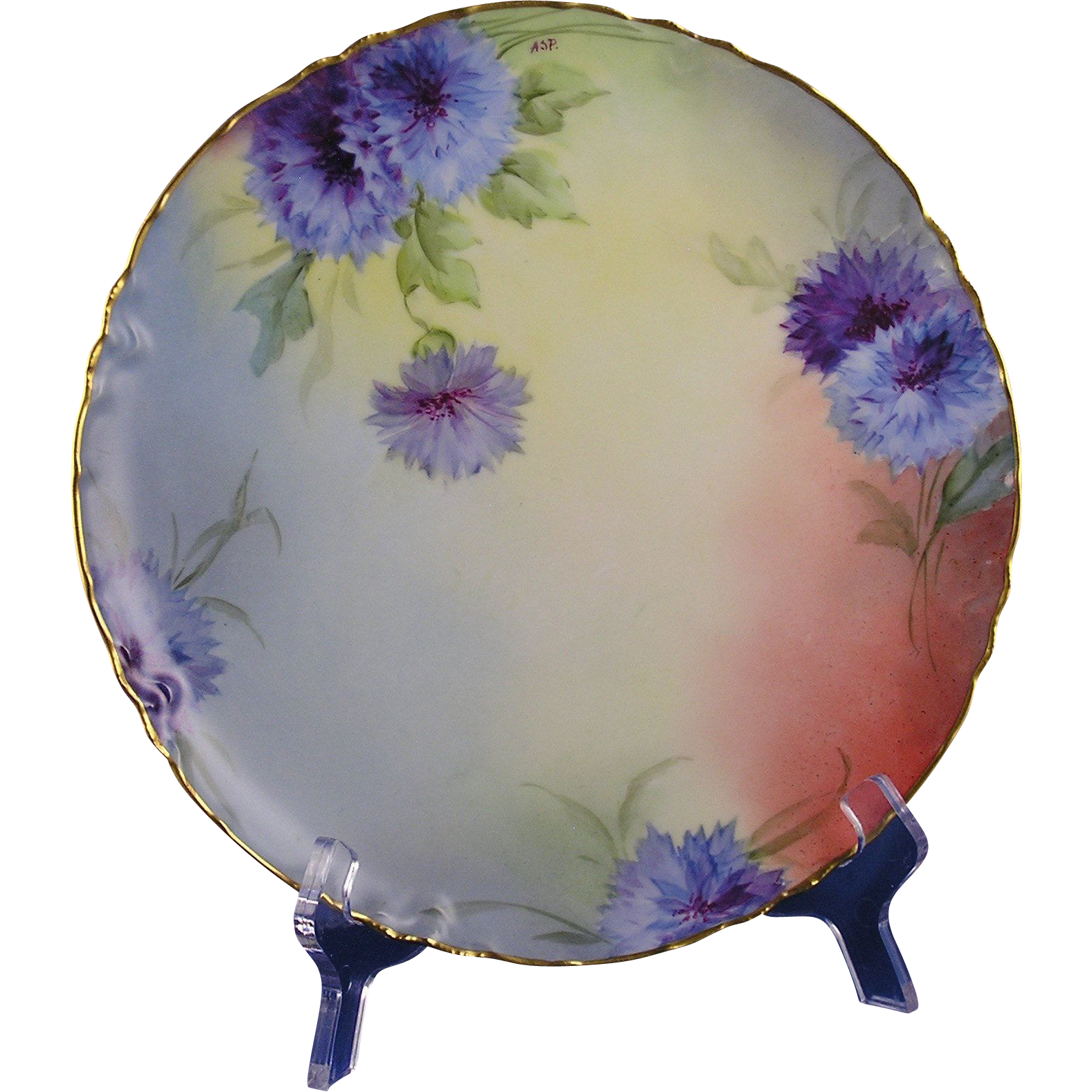 "White's Art Company Chicago Haviland Limoges Cornflower Design Plate (Signed ""ASP.""/c.1914-1923)"
